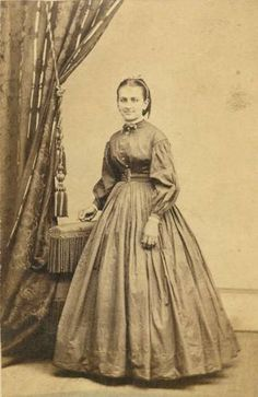 I like this one... maybe I'll do my day dress top like this. About 1860-1865.  From unpublished CDV, circa 1860s