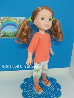 Doll Clothes Orange Shirt with Blue Green by GiGisDollCreations