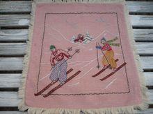 Vintage Hand Embroidered Ski Pillow Top/rubylane-LooLuu's
