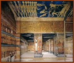 Looking out from the burial chamber of Seti I into a group of side treasury chambers. Valley of the Kings, New Kingdom, Dynasty 19.