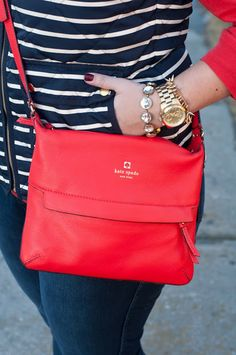 Winter Outfit: J.Crew Excursion Vest, red sweater, Kate Spade bag // @ashtonwearsthings