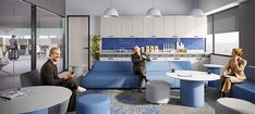 Mindful Design Consulting Creates Visually Stimulating Office Design for Wealth Management Firm - Mindful Design Consulting Decorative Wall Tiles, Decorative Panels, Office Interior Design, Office Interiors, Acoustic Baffles, Restroom Design, Mahogany Color, Waiting Area, Acoustic Panels
