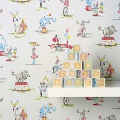 circus wallpaper in white from cath kidston