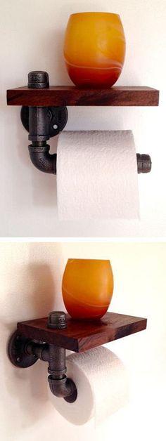 Reclaimed Wood & Pipe Toilet Paper Holder ❤︎