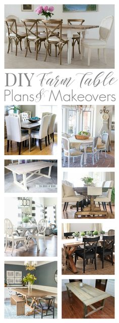 If you are looking for a farm table or want to add farmhouse style to your home, these free DIY dining table building tutorial plans and makeover ideas for painting and fixing up a table you already have or a thrift store, garage, estate sale or Craigs List find might be just what you need! Find Blogger + Builders Best Free Farm Table Tutorial Build Plans and DIY Makeover Ideas at www.foxhollowcottage.com