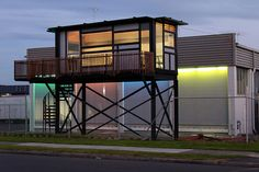 This shipping container home is kind of like the beach houses that you see on stilts. http://www.out-backstorage.com