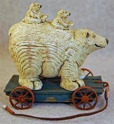 American Chestnut Folk Art Along for The Ride Polar Bears Pull Toy AM1254 | eBay