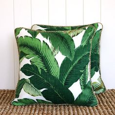 Green Palm Outdoor Square Cushion Pillow Cover - With NATURAL Piping trim