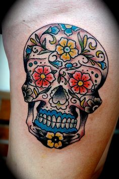 What does candy skull tattoo mean? We have candy skull tattoo ideas, designs, symbolism and we explain the meaning behind the tattoo. Hot Tattoos, Body Art Tattoos, Tatoos, Tattoo You, Big Tattoo, We Have Candy, Candy Skulls, Sugar Skulls, Sugar Skull Tattoos