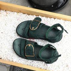 Faux Suede Strappy Block Heel Women's Flat Sandals