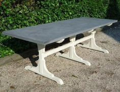 "White Washed Bistro Based Zinc Dining Table. Is ""made to order"" and can be done in any size."