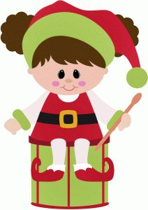 Silhouette Design Store - View Design #47939: girl elf sitting on a drum christmas
