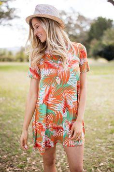 You Drive Me Crazy Orange Palm Print Dress95% Rayon5% SpandexDry Clean OnlyMade in USA
