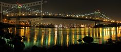 This picture is from the riverfront of the George Washington Bridge at night in New York City, New York. Panoramic Images, George Washington Bridge, New York City, Night, Pictures, Travel, Beautiful, Photos, Viajes