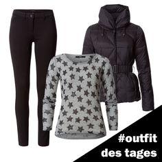 Strickpullover mit Sternchen, Daunenjacke und Skinny Jeans von zero! #zerofashion #outfit #ootd