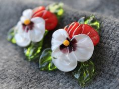 Handmade Lampwork Pansy Beads  Set of 2 by JewelryBeadsByKatie