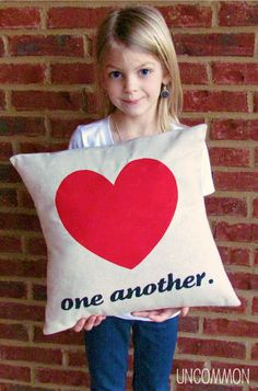 Love One Another Valentines Pillow by Uncommon Designs