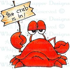 Crab Is In - Sealife - Animals - Rubber Stamps - Shop Cartoon Drawings, Animal Drawings, Fish Art, Tole Painting, Chalk Art, Whimsical Art, Beach Art, Rock Art, Painted Rocks