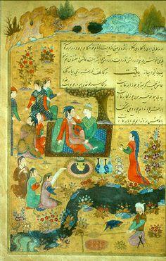 Lovers at a banquet - 15th C. Persian