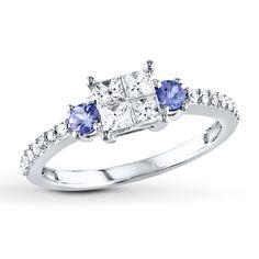 Diamond/Tanzanite Ring 1/2 Carat tw 14K White Gold