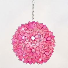 Love this pnk flower globe chandelier for a girl's room