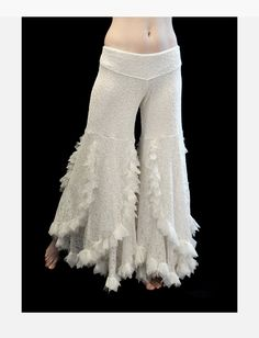 Swan Pants - Off-White Lace  - belly dance, tribal fusion, bellydance, latin dance. $135.00, via Etsy.