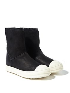 Rick Owens Womens Shearling Ankle Boots