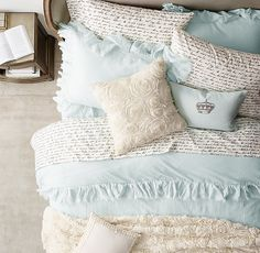 Tattered Ruffle & Manuscript Percale Bedding Collection