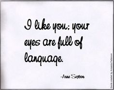 I like you--your eyes are full of language.  ~Anne Sexton
