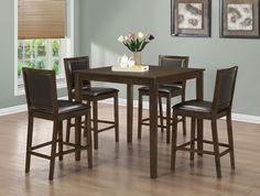 Monarch Specialties Dining Set - 5pcs Set / Walnut Veneer Counter Height, Brown