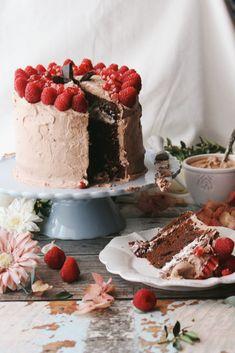 Chocolate Raspberry Cake with Coconut Truffle Cream Frosting