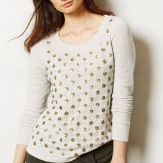 Anthropologie Deletta Gold Dot Sweater Sz Small Size small in EUC!  Perfect for the holidays ❤️ Anthropologie Sweaters Crew & Scoop Necks