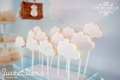 boy's hot air balloon themed christening cookie ideas www.spaceshipsandlaserbeams.com