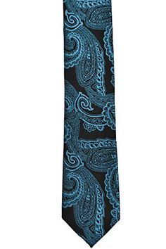 Notch Men's Slim Necktie DANIEL – Liquorice black base and a turquoise paisley  http://www.yourneckties.com/notch-mens-slim-necktie-daniel-liquorice-black-base-and-a-turquoise-paisley/