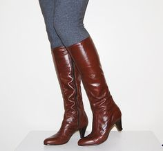 Vintage Leather Boots Brown Choco Tall by CheekyVintageCloset, $32.00