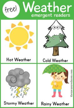 Free weather emergent readers for kids - perfect to use with a weather unit!