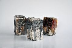 Raku Fired Ceramic Cubic Container with Tree by DerinmaviBodrum