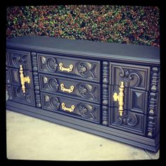 Graphite Gray and Brass Hollywood Regency Sideboard.