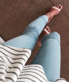 Blush Strappy Heels | Light Blue Ribbed Jeans | Striped Top