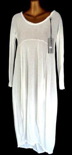MADE IN ITALY - IVORY SEMI SHEER LONG SLEEVE SOFT KNIT LAGENLOOK DRESS M (2040 | eBay