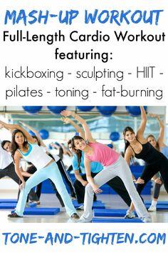 "Killer ""mash-up"" workout featuring HIIT, kickboxing, pilates and cardio!"