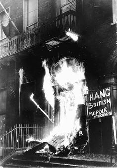 The British Embassy in Dublin set alight by angry protesters, in response to the Bloody Sunday Killings.
