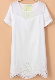 White Short Sleeve Hollow Slim Dress - Sheinside.com