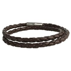 Braided Brown Leather Men S Wrap Bracelet Necklace