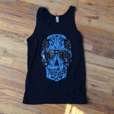 "tri delta tank top this is a black skull American apparel tri delta tank top! it says ""delta three, delta tri, delta delta till I die"" on the back. the only fault is my name written on the tag but you could easily cut the tag off American Apparel Tops Tank Tops"