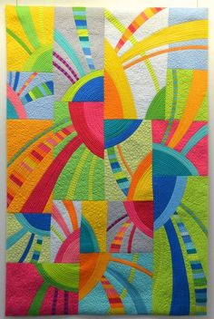"""Jubilo"" by Diane Melms - Carrefour Européen du Patchwork, St-Marie, France Quilt Baby, Colchas Quilt, Modern Quilting Designs, Modern Quilt Patterns, Loom Patterns, Quilting Patterns, Circle Quilts, Colorful Quilts, Contemporary Quilts"