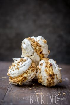 Hazelnut Meringue Bomb - Combination of Crunchy Hazelnut Meringue and Dulce De Leche Custard Buttercream creates an explosion of flavor, that is going to be a memorable dessert experience. Hazelnut Meringue, Meringue Desserts, Just Desserts, Delicious Desserts, Yummy Food, Pavlova, Cookie Recipes, Dessert Recipes, Crack Crackers