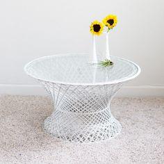 White, Fiberglass Coffee Table | Mid-Century Modern | Birch & Brass Vintage Rentals | Weddings and Corporate Events | Austin, Texas