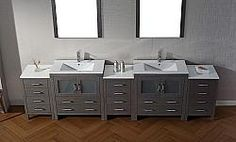 The Virtu USA Dior Double Bathroom Vanity gives your bathroom a modern update with clean, straight lines and incredible storage for functionality. Modern Vanity, Modern Bathroom, Free Standing Vanity, Vanity Set, Double Vanity, Home Remodeling, Dior, Storage, Bathroom Vanities