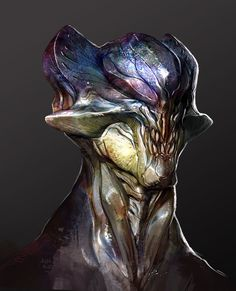 alien head, Jonathan Kuo on ArtStation at https://www.artstation.com/artwork/JQ6D